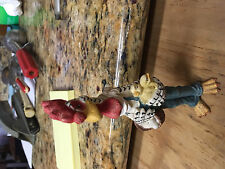 """Vtg Rooster in overalls figurine 6"""" holding chicks and Basket of eggs Awesome!"""