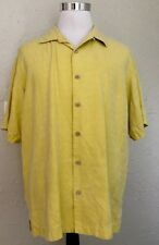 Tommy Bahama Yellow Men's L 100% Silk Shirt Coconut Buttons (60)