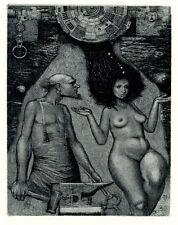 Ex-libris HEPHAESTUS & APHRODITE K. Antioukhin Erotic Original etching Signed