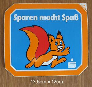 Sparkasse Eichhörnchen Sticker Aufkleber Sparen macht Spaß Werbung 80er Jahre