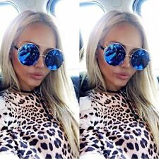 Oversized Big Round Blue Mirror Lens Metal Frame Technologic Women Sunglasses