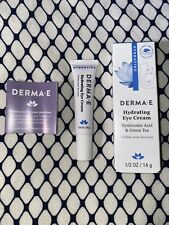Derma E Hydrating Eye Cream NIB +Hyaluronic Acid & Green Tea VEGAN Beauty 1/2 oz
