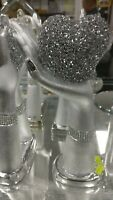 SILVER HEART IN HAND SPARKLE ORNAMENT CRUSHED CRYSTAL SHELFSITTER VALENTINE GIFT