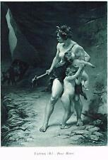 Cave Women Protecting Children From Wolf  Print Picture Faivre Deux Meres Mother