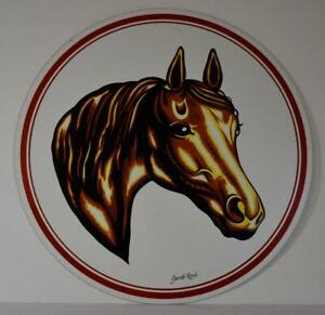 "Vintage PA Dutch Folk Art Horse Hex Sign Jacob Zook Barn Farmhouse Decor 16"""