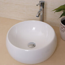 Round White Bathroom Ceramic Vessel Sink Bowl w/ Chrome Faucet Drain Basin Combo