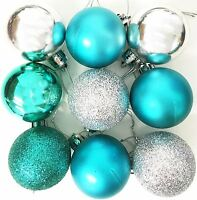 9 Christmas Tree Baubles SILVER TEAL Decor Festive Xmas Glitter Mat Ornament