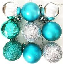 9 Christmas Tree Baubles SILVER TEAL Decor Festive Xmas Glitter Mat Ornament