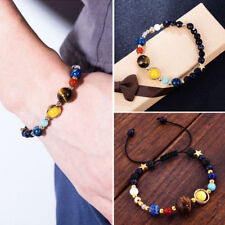 New Universe Solar System Galaxy Eight Planets Stone Beads Braided Bracelet