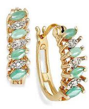 GENUINE DIAMONDS & EMERALD IN 14K GOLD OVER 925 SILVER HOOP EARRINGS DE096