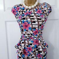 Womens Size 16 Dress Multi Floral Geometric Print Peplum Stretch Wedding Formal