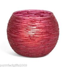 """BIRCH HEARTS #81035 4.25"""" ROUND RED GLITTERED CANDLE HOLDER"""