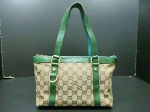 Authentic GUCCI GG Canvas Tote Bag 141471 Canvas Leather Beige Green 86909