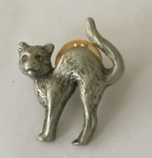 Witches Cat. Pewter Brooch Pin Badge. Made in UK Butterfly Clutch Fastening