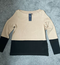 Black & Camel Jumper Top M&S Size 12 BNWT lovely Soft Material Boat Neck