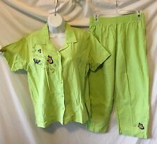 FASHION CLASSICS(LARGE)(EUC) 2PC Green Top Sequined Butterflies 3/4 Pants