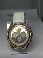 Women's Ellen Tracy Watch ET5076STK  Rose Gold Tone Crystals White Leather Band