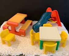 Vintage Little Tikes Dollhouse Furniture Picnic Table Slide Table Chairs
