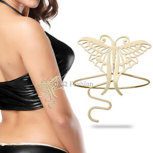 Retro Gold Filigree Butterfly Bracelet Armband Upper Arm Cuff Armlet Belly Dance