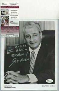 Art Modell Autographed NFL Football 8x10 Photo JSA COA Cleveland Browns Owner