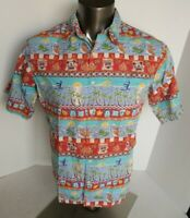 Disney Mickey Mouse Donald Tiki Beach Print Mens Hawaiian Shirt L Large EUC