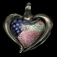 Dichroic Heart Pendant w/ Cord / Gifts for Her / Friend Gift / Valentines #37