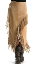 Fringle Brown Skirt Real Leather River Island  size 8,14