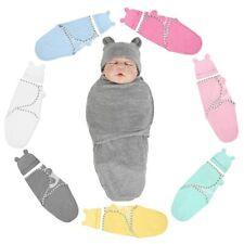 2Pc Baby Swaddle Wrap Newborn Infant Baby Soft Bedding Blanket Sleeping Bag+Hat