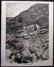 Georgskloster; Wadi Qelt; Westjordanland; Palästina. Orig. Holzstich, ca. 1890