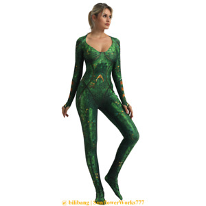 Aquaman Mera Queen Cosplay Zentai Bodysuit Jumpsuits Comicon Costume