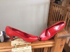 Carvela rojo todo el cuero punta abierta zapatos talla 6