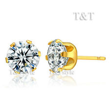 T&T S.Steel 8mm Clear CZ Round Stud Earrings GOLD New ER09A(8)