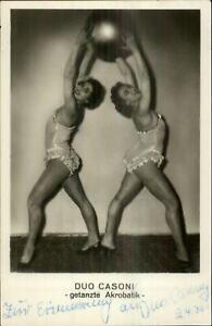 Circus Sideshow Pretty Woman w/ Ball DUO CASONI Acrobats Autograph RPPC