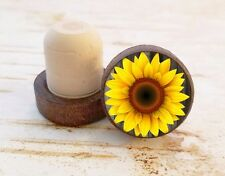 Sunflower Wine Stopper, Flower Dark Wood Cork Bottle Stopper, Gift For Her