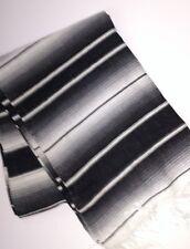 "Mexican Serape blanket Black & White stripes with white Fringe XL  60"" X 80"""