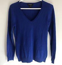 Ann Taylor Royal Blue V-Neck 100% Cashmere Sweater Size XS