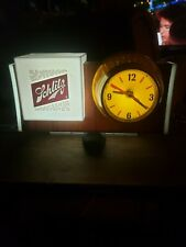 Schlitz beer sign lighted barrel clock back bar lighted bubbler motion, htf