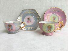 2 Petite/ Miniature Hinode Occupied Japan Portrait Tea Cup & Saucer (1051)