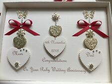Handmade Personalised Boxed Wedding Day Card Engagement Ruby Anniversary 25th