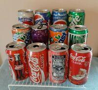 Vintage 1990's Pepsi and coca cola cans no duplicates vintage coca cola box