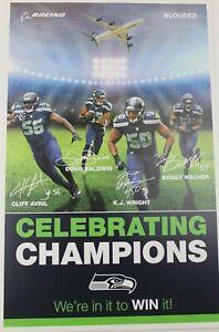 Seattle Seahawks Champion Poster Bobby Wagner Kj Wright Cliff Avril Doug 11x17