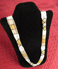 "Trade Bead Necklace 36"" Handmade Black/White/Golds African Zulu"