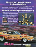 1974 Monroe High Performance Max Shocks Dyno Don Nicholson Pro Stock Drag Ad