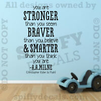 Winnie The Pooh Stronger Braver A.A. Milne Quote Vinyl Wall Decal Decor Sticker