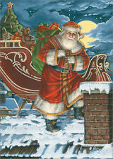 Santa at Chimney Die Cut with Glitter Box of 12 Christmas Cards by LPG Greetings