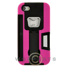 Apple iPhone 5/5S/SE Bottle Opener Hybrid Case w/ Stand - Hot Pink Cover Shell