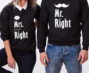 Mr Mrs Right Valentine's Couple Matching Sweater Hoodie Sweatshirt T Shirt Tee