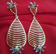 Indian CZ AD Emerald Green Ruby Pink Stone Gold Plated Partywear Women Earrings