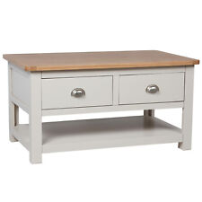 Sutton Grey Painted Storage Coffee Table Oak with 2 Drawers / Living Room / New
