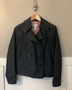 Ann Taylor Loft Denim Jacket Sz XS Jean Blazer Coat Lined Double Breasted
